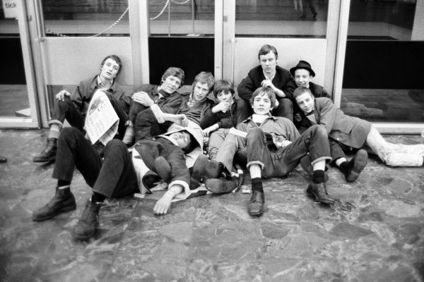 Young Chelsea fans at Euston Station where the team will start their parade of the 1970 FA Cup tomorrow after beating Leeds United at Old Trafford