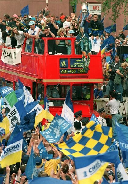 The Chelsea team bus arrives on it's way to the Civic Reception