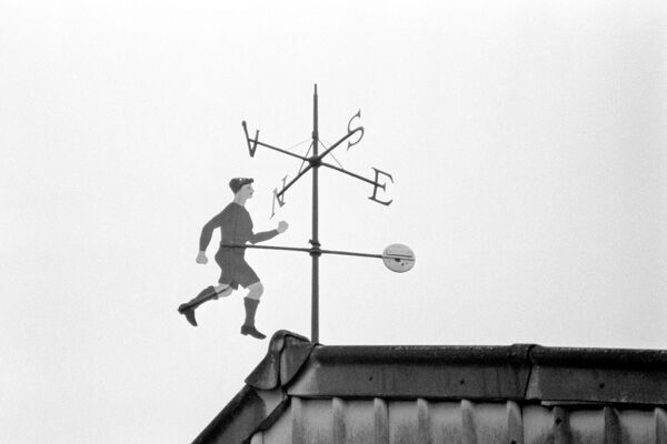 The weathervane atop Stamford Bridge's east stand, modelled on prolific striker George Hilsdon, who scored 98 goals in 150 league games for Chelsea