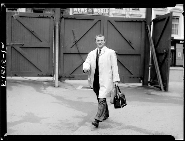 Chelsea coach Tommy Docherty arrives at Stamford Bridge on the first day of training after the summer break
