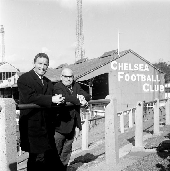 (L-R) New Chelsea manager Dave Sexton stands on the Stamford Bridge terraces with Chairman Charles Pratt