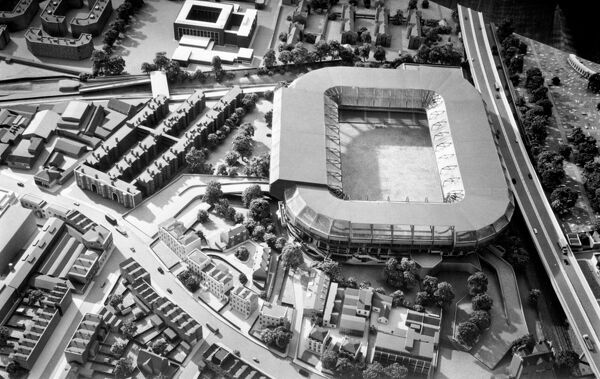 An architect's model of the proposed development of Stamford Bridge