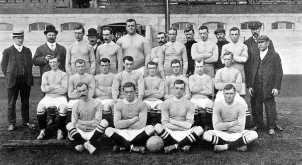 Chelsea team group: (back row, l-r) Manager JT Robertson, Director HA Mears, Honorary Secretary Fred Parker, Trainer James Miller, Trainer Harry Ransom, Secretary W Lewis (second row, l-r) Byrne, Bob McRoberts, Bill 'Fatty' Foulke, Copeland