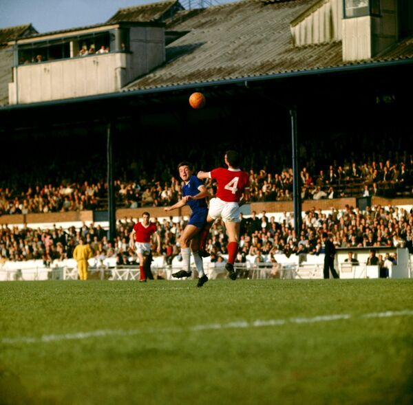 Chelsea's Bobby Tambling (left) out jumps Blackburns Ronnie Clayton