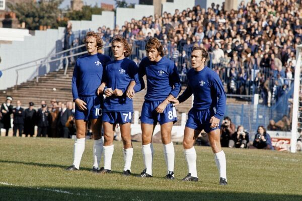 (L-R) Chelsea's Tommy Baldwin, Steve Kember, Alan Hudson and Ron Harris form a defensive wall
