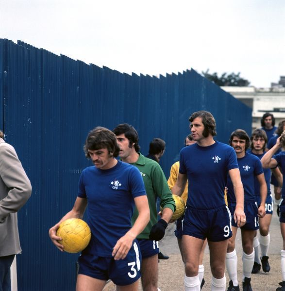 (L-R) Chelsea's Eddie McCreadie, Peter Bonetti, Peter Osgood, Charlie Cooke and Alan Hudson walk out for the opening match of the season