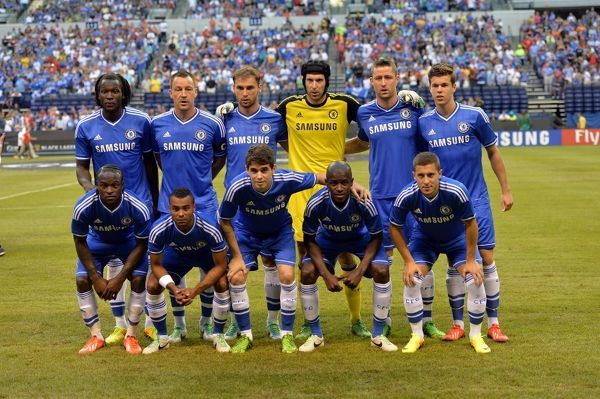 Chelsea's team during the Guinness International Champions Cup 2013 match between Chelsea and Inter Milan at the Lucas Oil Stadium on 1st August 2013 in Indianapolis, USA