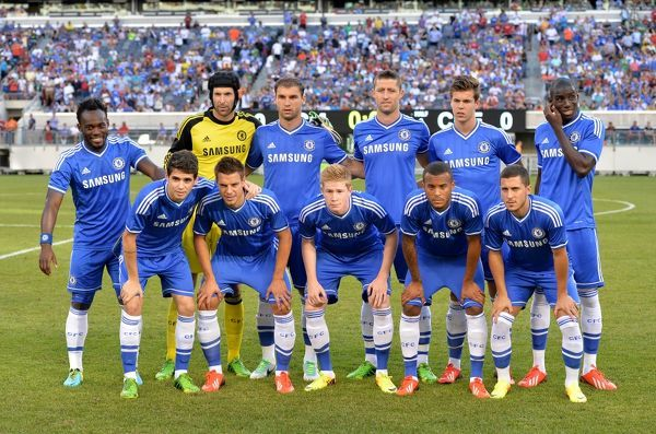 Chelsea starting line up for the Guinness International Champions Cup 2013 match between Chelsea and AC Milan at the Metlife Stadium on 4th August 2013 in New Jersey, USA