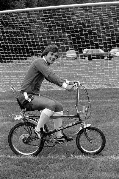 Ray Wilkins, 18, Chelsea FC captain, gets some leg exercise on a chopper bicycle, at the club's Morden training ground