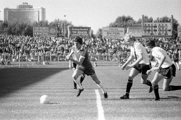 New Chelsea signing Duncan McKenzie leads Manchester City's Paul Futcher and Paul Power, right, as he sprints for the ball. The match, in which McKenzie was making his first home appearance for Chelsea, ended in a 4-1 win for City