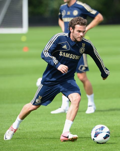 Chelsea's Juan Mata during a training session at the Cobham Training Ground on 7th August 2012 in Cobham, England