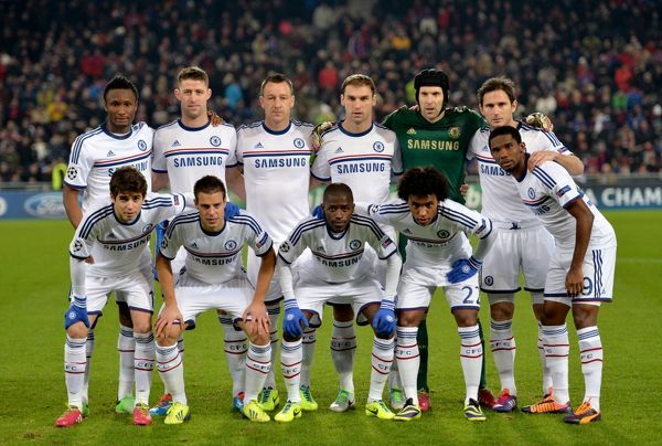 Chelsea team group during a UEFA Champions League Group E match between FC Basel and Chelsea on 26th November 2013 at St. Jakob-Park in Basel, Switzerland