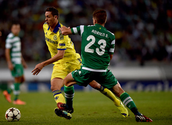 Chelsea's Nemanja Matic battles for the ball with Sporting's Adrien Silva
