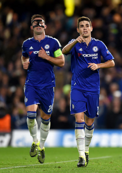 Chelsea's Emboaba Oscar celebrates scoring his sides second goal of the match