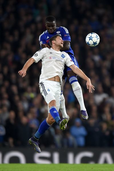 Chelsea's Kurt Zouma and Dynamo Kiev's Artem Kravets (front) battle for the ball in the air