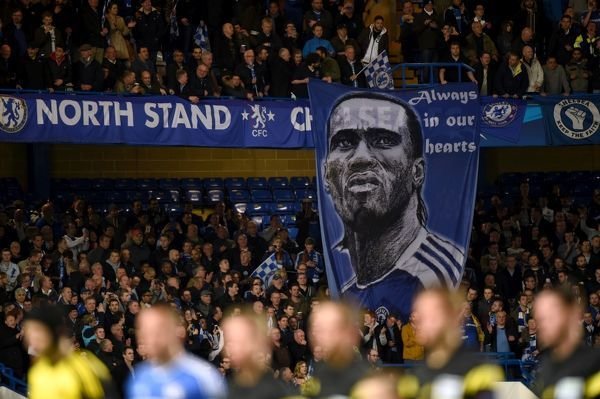 A banner in support of Didier Drogba in the stands