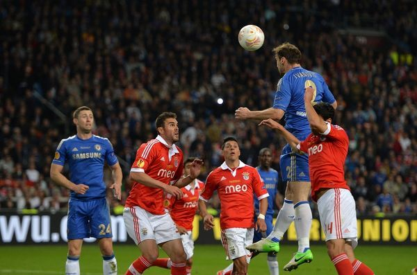 Chelsea's Branislav Ivanovic (second right) scores the winning goal with a header, late in the game