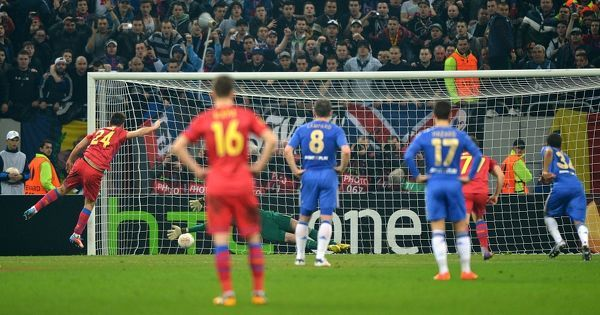 Steaua Bucuresti's Raul Rusescu scores his side's first goal of the game from the penalty spot
