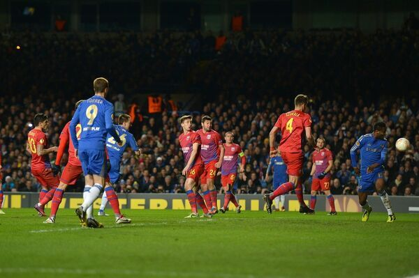 Chelsea's John Terry (fourth left) scores their second goal of the game