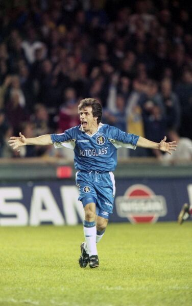 Chelsea's Gianfranco Zola celebrates after the match. (Photo by Dave Shopland/Chelsea FC/Press Association Image)