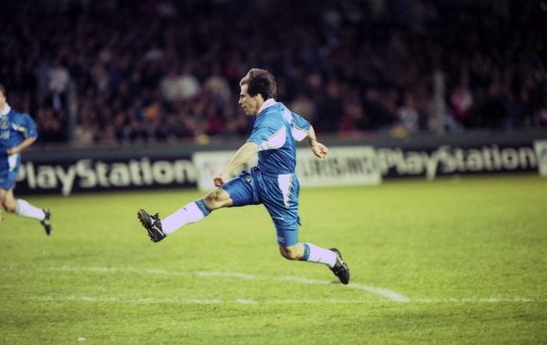 Chelsea's Gianfranco Zola scores the winning goal. (Photo by Dave Shopland/Chelsea FC/Press Association Image)
