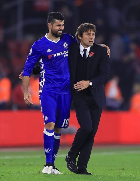 Chelsea's Diego Costa is embraced by manager Antonio Conte after the Premier League match at St Mary's Stadium, Southampton