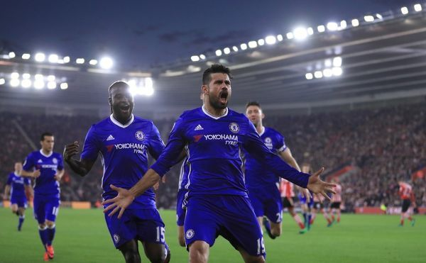 Chelsea's Diego Costa celebrates scoring his side's second goal during the Premier League match at St Mary's Stadium, Southampton