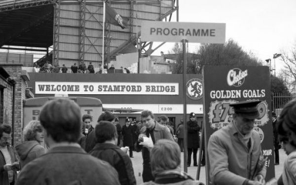 STAMFORD BRIDGE, LONDON, AUGUST 16TH 1980 : Chelsea v Wrexham. Stamford Bridge main entrance. (Photo by Hugh Hastings/Chelsea FC )