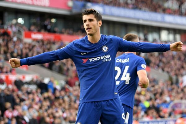 STOKE ON TRENT, ENGLAND - SEPTEMBER 23: Alvaro Morata of Chelsea celebrates scoring his sides third goal during the Premier League match between Stoke City and Chelsea at Bet365 Stadium on September 23, 2017 in Stoke on Trent, England