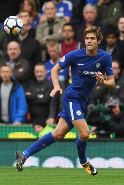 STOKE ON TRENT, ENGLAND - SEPTEMBER 23: Marcos Alonso of Chelsea in action during the Premier League match between Stoke City and Chelsea at Bet365 Stadium on September 23, 2017 in Stoke on Trent, England