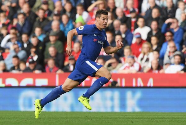 STOKE ON TRENT, ENGLAND - SEPTEMBER 23: Cesar Azpilicueta of Chelsea in action during the Premier League match between Stoke City and Chelsea at Bet365 Stadium on September 23, 2017 in Stoke on Trent, England