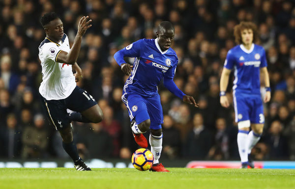 LONDON, ENGLAND - JANUARY 04: N'Golo Kante of Chelsea is chased by Victor Wanyama of Tottenham Hotspur during the Premier League match between Tottenham Hotspur and Chelsea at White Hart Lane on January 4, 2017 in London, England