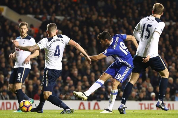 LONDON, ENGLAND - JANUARY 04: Diego Costa of Chelsea shoots during the Premier League match between Tottenham Hotspur and Chelsea at White Hart Lane on January 4, 2017 in London, England. (Photo by Chelsea Football Club/Chelsea FC via Getty Images)