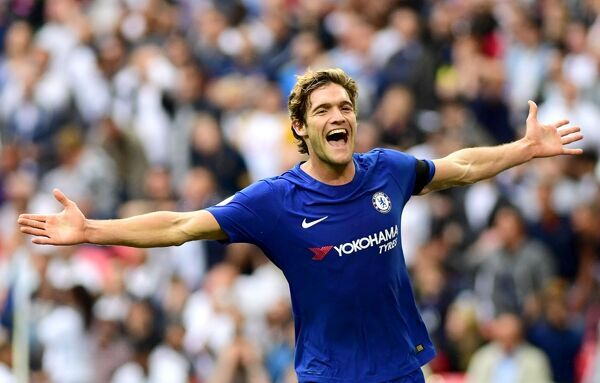 LONDON, ENGLAND - AUGUST 20: Marcos Alonso of Chelsea celebrates scoring his sides second goal during the Premier League match between Tottenham Hotspur and Chelsea at Wembley Stadium on August 20, 2017 in London, England
