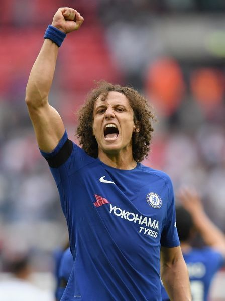 LONDON, ENGLAND - AUGUST 20: David Luiz of Chelsea celebrates victory after the Premier League match between Tottenham Hotspur and Chelsea at Wembley Stadium on August 20, 2017 in London, England. (Photo by Darren Walsh/Chelsea FC via Getty Images)