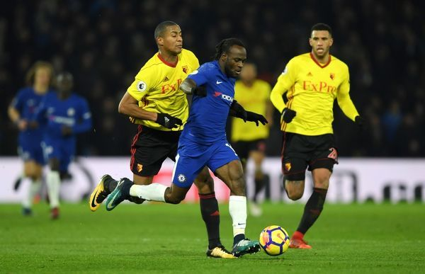 WATFORD, ENGLAND - FEBRUARY 05: Victor Moses of Chelsea in action during the Premier League match between Watford and Chelsea at Vicarage Road on February 5, 2018 in Watford, England. (Photo by Darren Walsh/Chelsea FC via Getty Images)