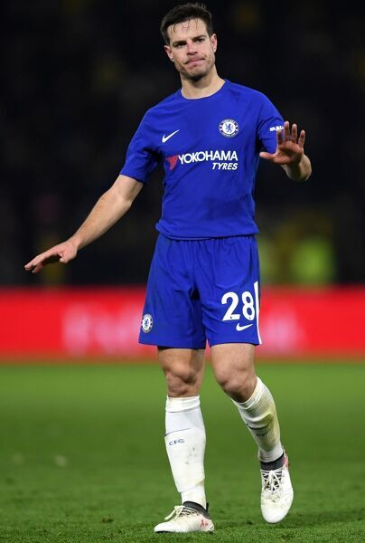 WATFORD, ENGLAND - FEBRUARY 05: Cesar Azpilicueta of Chelsea reacts after the Premier League match between Watford and Chelsea at Vicarage Road on February 5, 2018 in Watford, England. (Photo by Darren Walsh/Chelsea FC via Getty Images)