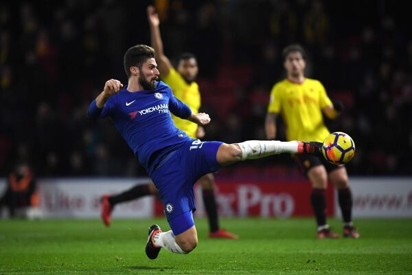 WATFORD, ENGLAND - FEBRUARY 05: Olivier Giroud of Chelsea in action during the Premier League match between Watford and Chelsea at Vicarage Road on February 5, 2018 in Watford, England. (Photo by Darren Walsh/Chelsea FC via Getty Images)