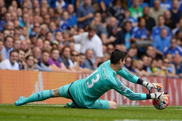 Chelsea's Thibaut Courtois during a Barclays Premier League match between Chelsea and Swansea City at Stamford Bridge on 8th August 2015 in London, England