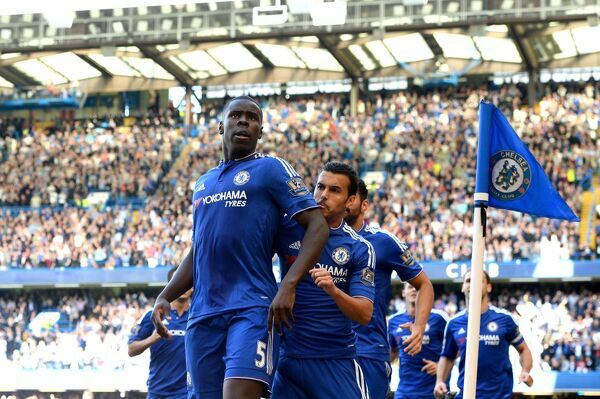 Chelsea's Kurt Zouma (left) celebrates scoring their first goal of the game with team-mates