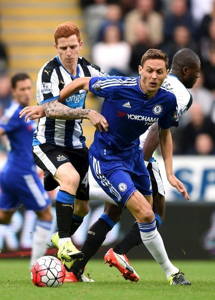 Chelsea's Nemanja Matic (right) and Newcastle United's Jack Colback (left) battle for the ball