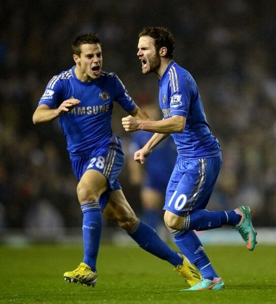Chelsea's Juan Mata (right) celebrates with team-mate Cesar Azpilicueta after scoring his side's first goal of the game