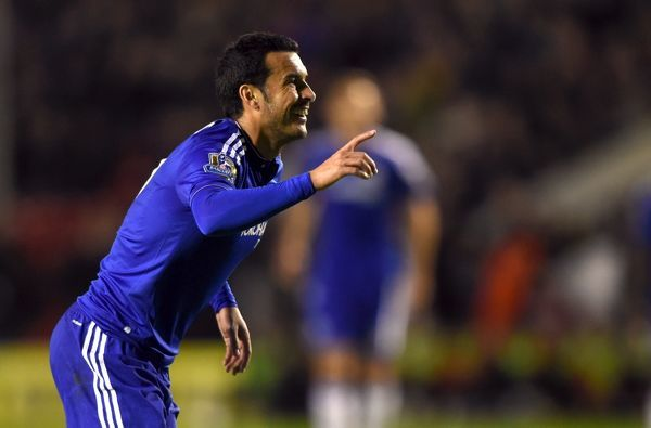 Chelsea's Pedro celebrates scoring his side's fourth goal of the game