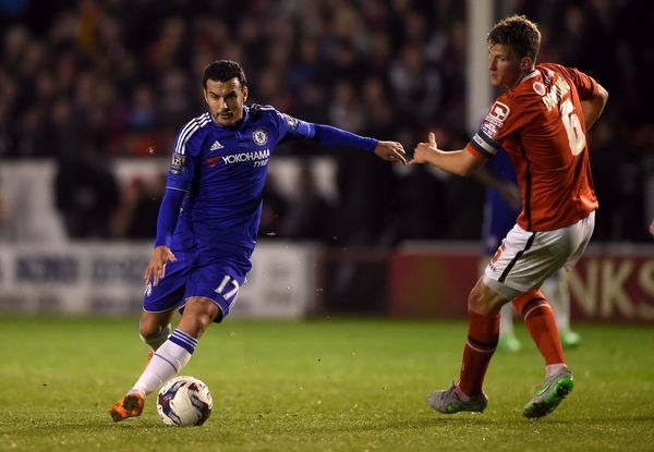 Chelsea's Pedro runs through the Walsall defence before scoring