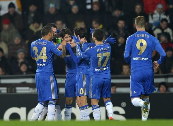 Chelsea's Emboaba Oscar (third left) celebrates scoring his side's first goal of the game with teammates